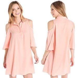 DO+BE Women Dress Cold Shoulder Peach Cut Out NWT